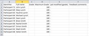 Offline Grading Worksheet In Moodle 2 4 Assignment