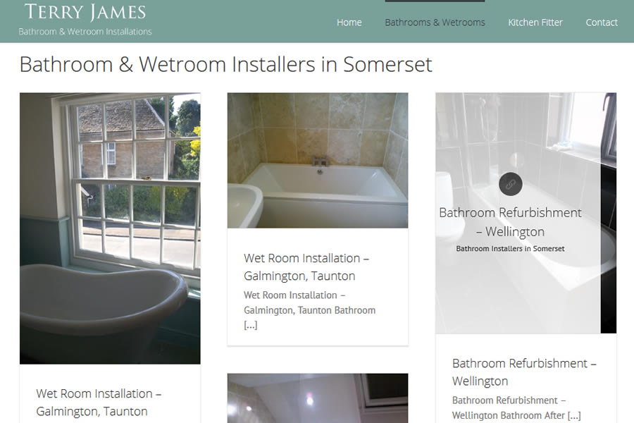 Wetrooms and bathrooms website designers in Somerset