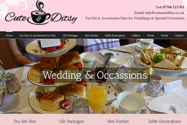 Website Design for Vintage Tea Set HIre