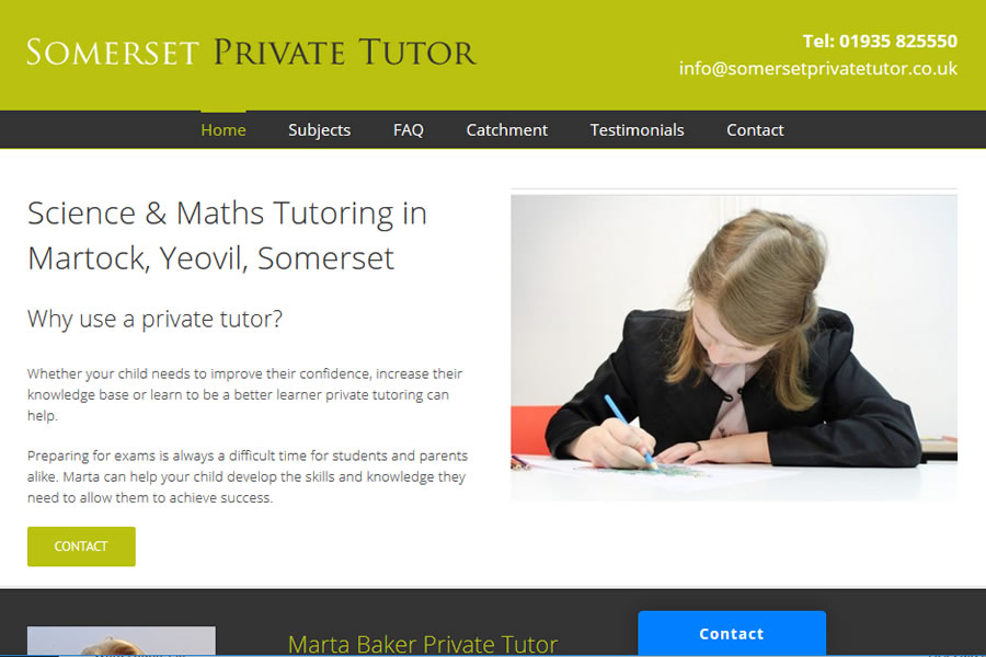 Website Design for Private Tutor in Somerset