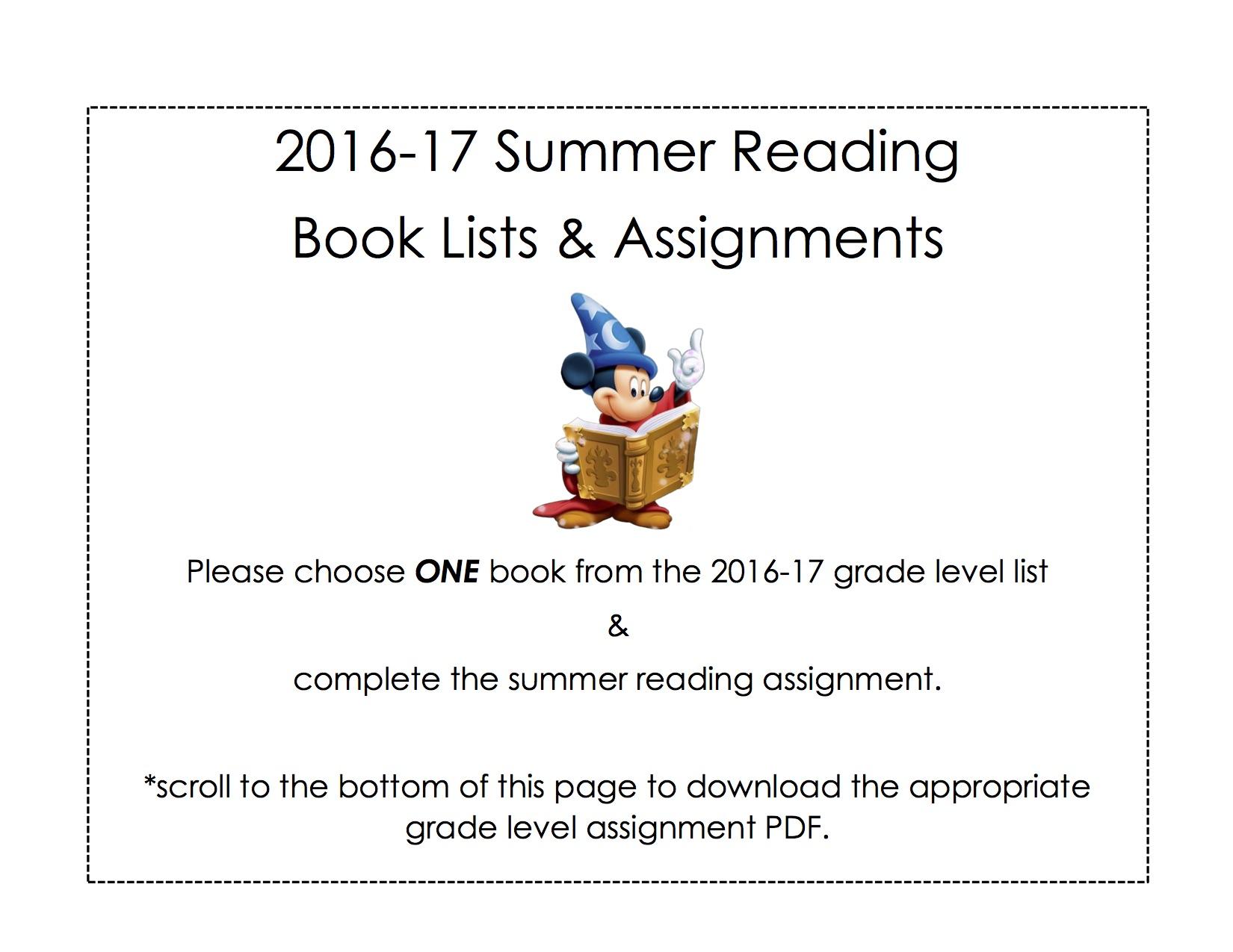 Summer Reading Assignment Summer Reading Assignment