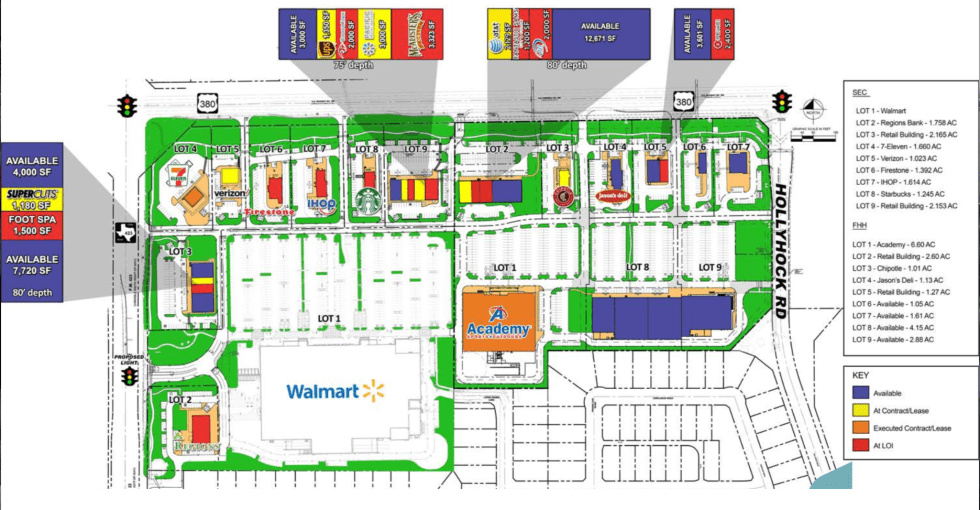Frisco Crossing shopping center site plan