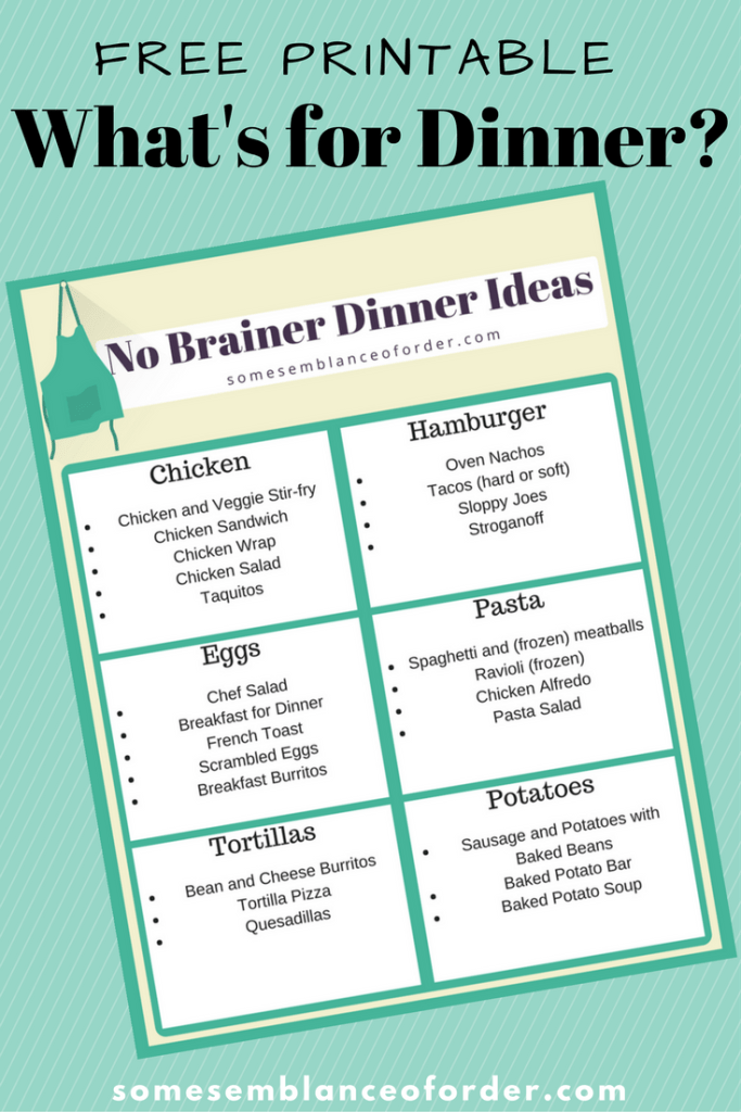 easy dinner ideas, menu planning, homemaker