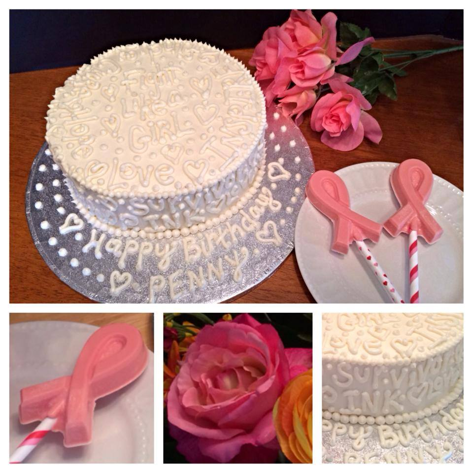 Cancer Survivor Cake and Hand Poured Candy Melt Pink Ribbons