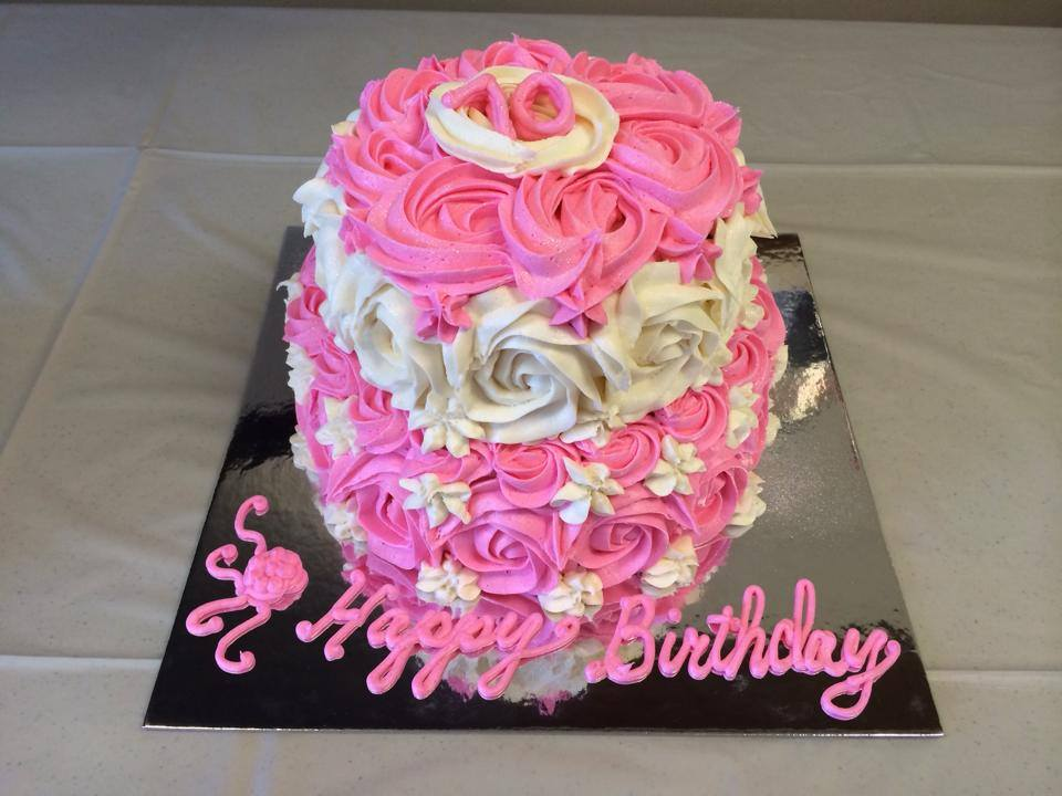 Pink and White Rose Birthday Cake