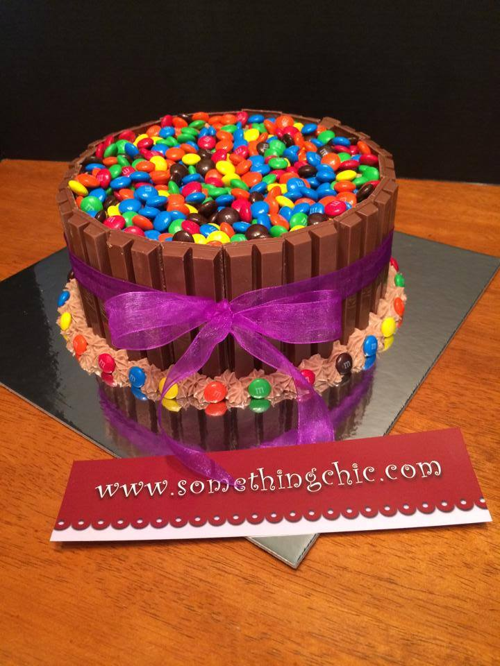Kit Kat and M&M Chocolate Birthday Cake