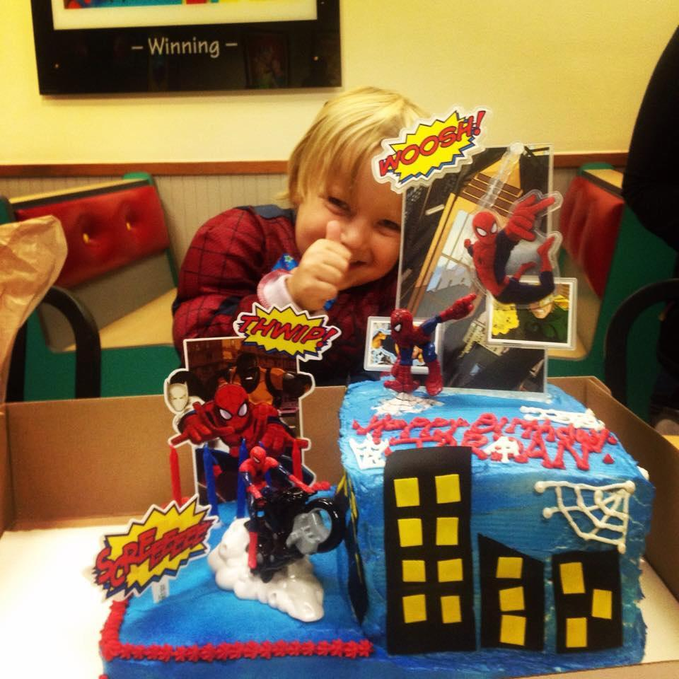 Spiderman Themed Cake with Sugar Sheet and Plastic Decor