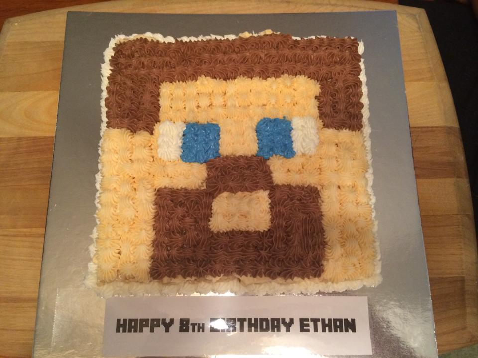 Minecraft Steve Face Rice Krispy Treat Birthday Cake