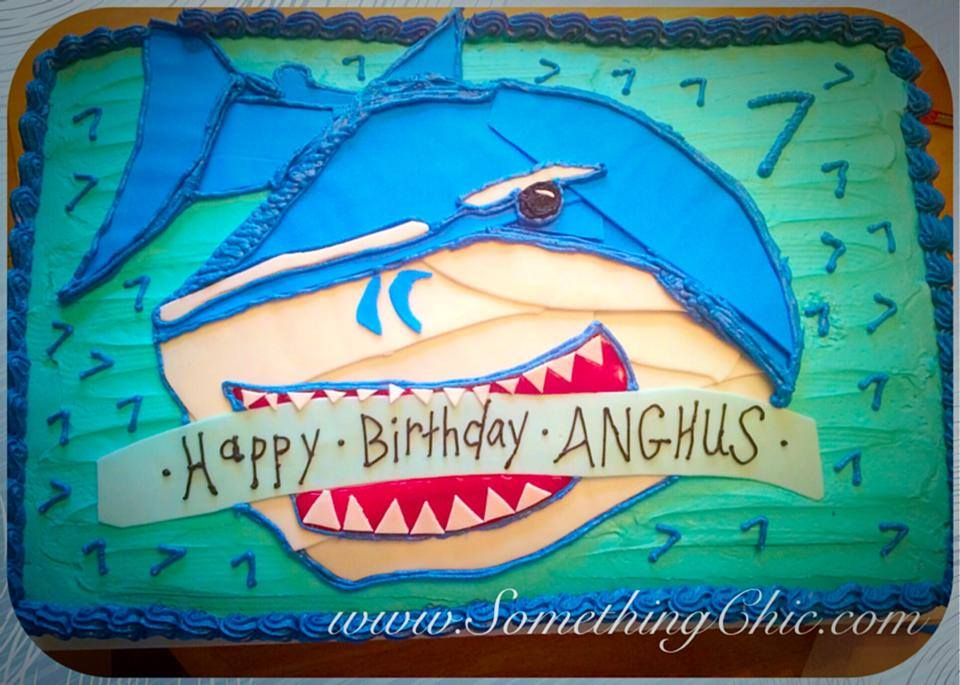 Shark Themed Birthday Sheet Cake