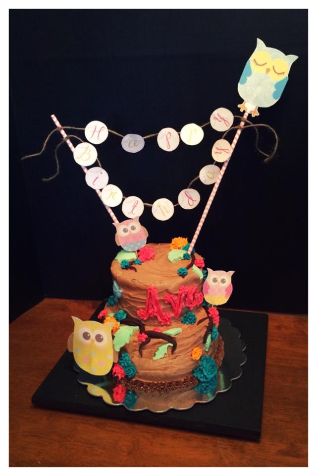 Owl Themed Birthday Cake using Paper, Fondant and Buttercream Decor