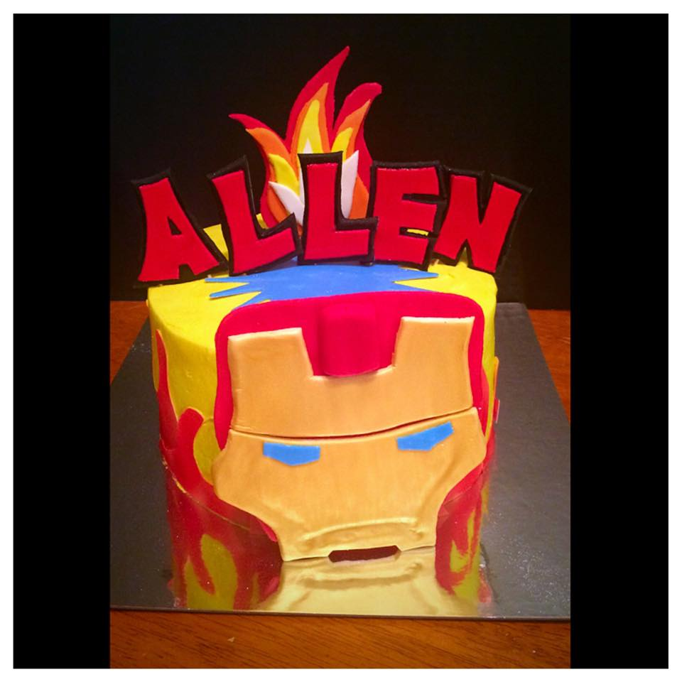Marvel IronMan Birthday Cake with Buttercream Finish and Fondant Decor