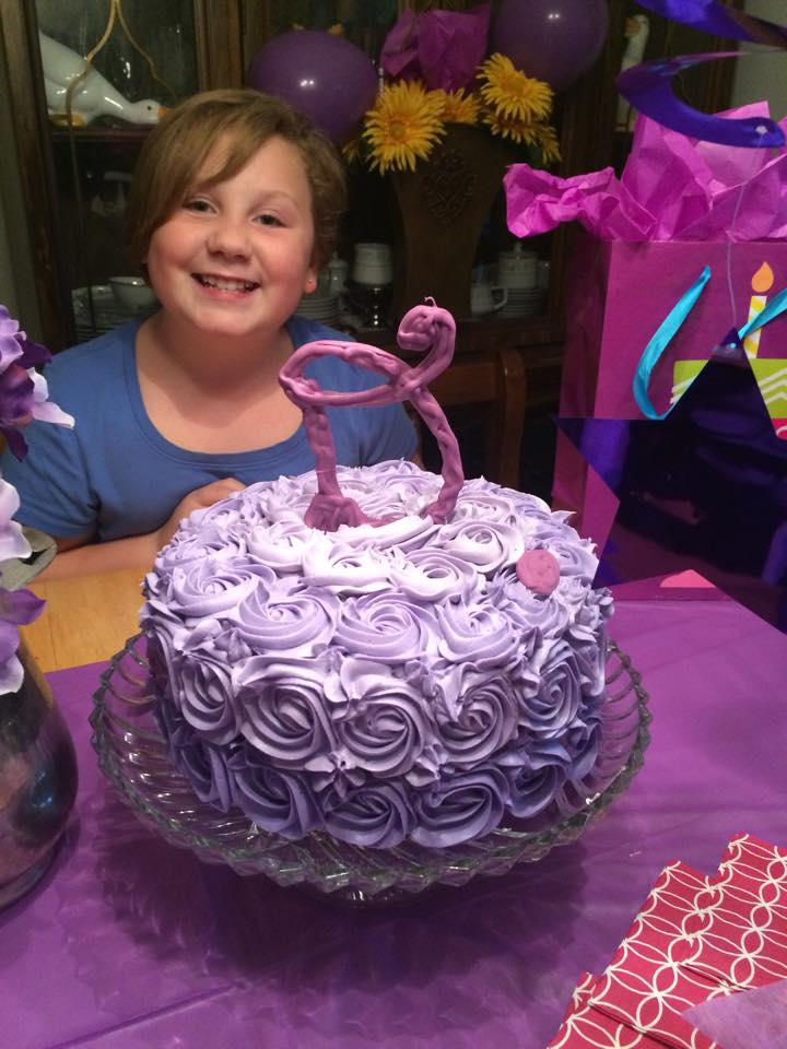 Gluten Free Birthday Cake with Purple Ombre Buttercream Roses and Candy Melt Initial