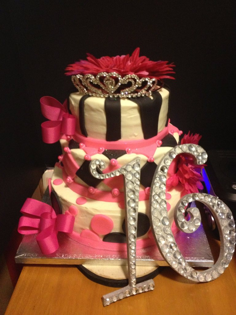 Sweet 16 Birthday Cake with Fondant, Silk Flowers, Ribbon and Wood Numbers with Rhinestones