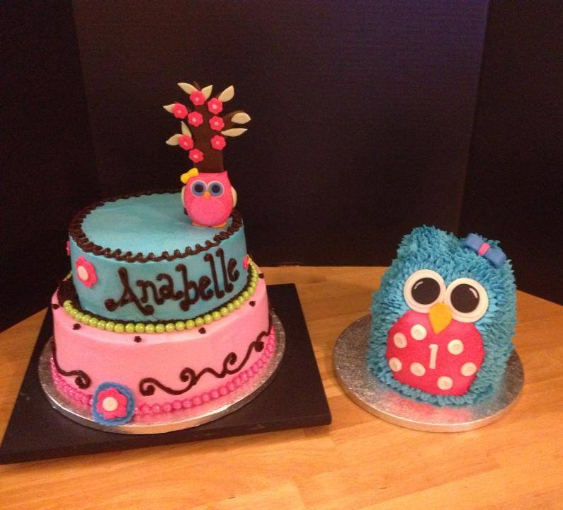 Owl Themed Birthday Cake and Tiered Cake