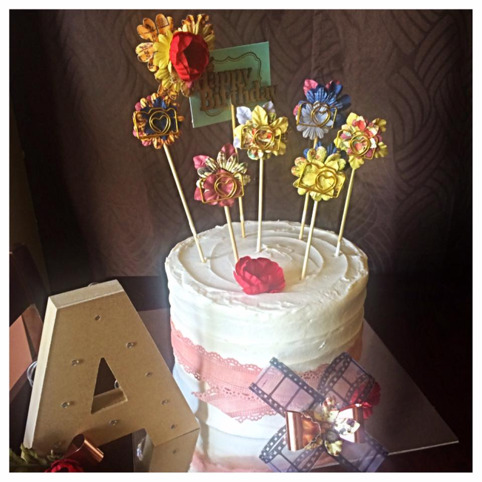 Photographer's Fancy Birthday Cake with Handcrafted Picks and Decor