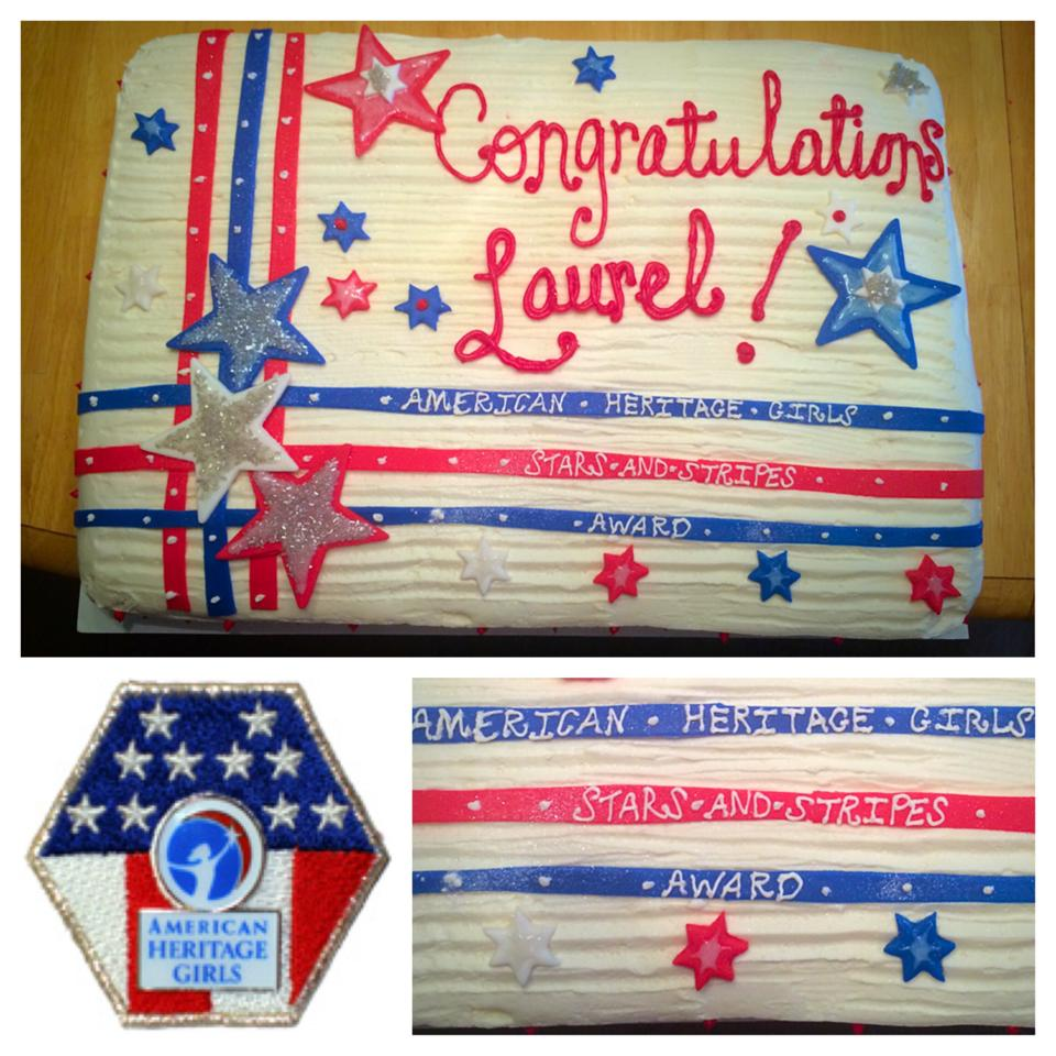 American Heritage Girls Stars and Stripes Award Sheet Cake