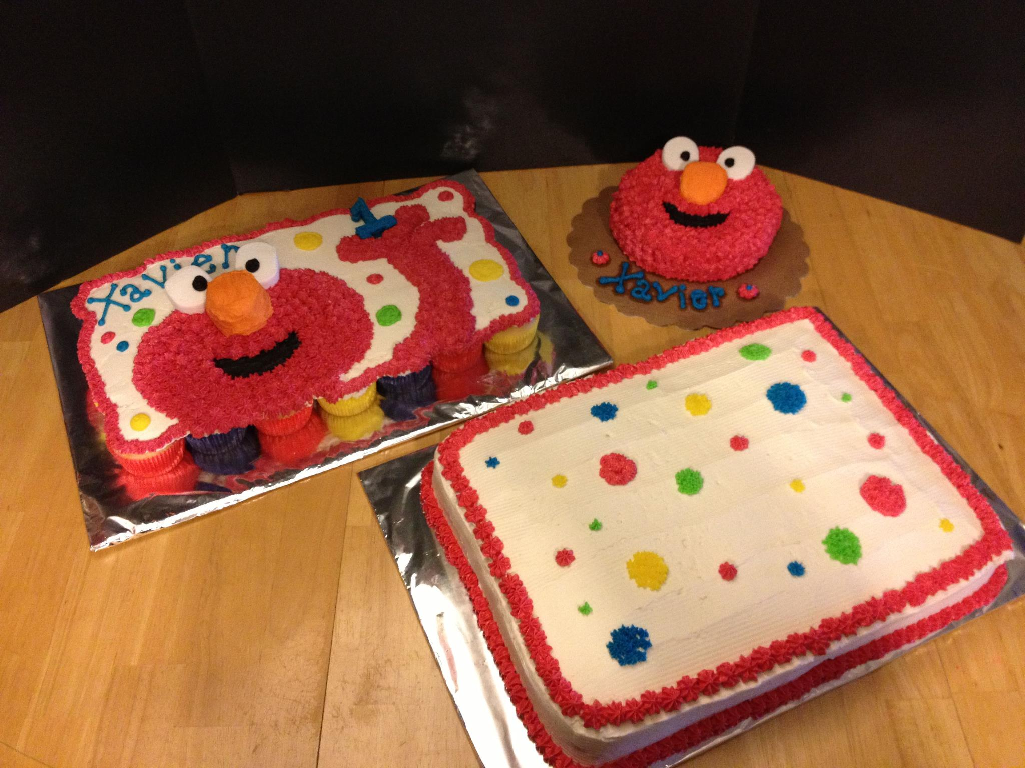 Sesame Street Elmo Character Birthday Cupcake Cake, Smash Cake and Sheet Cake