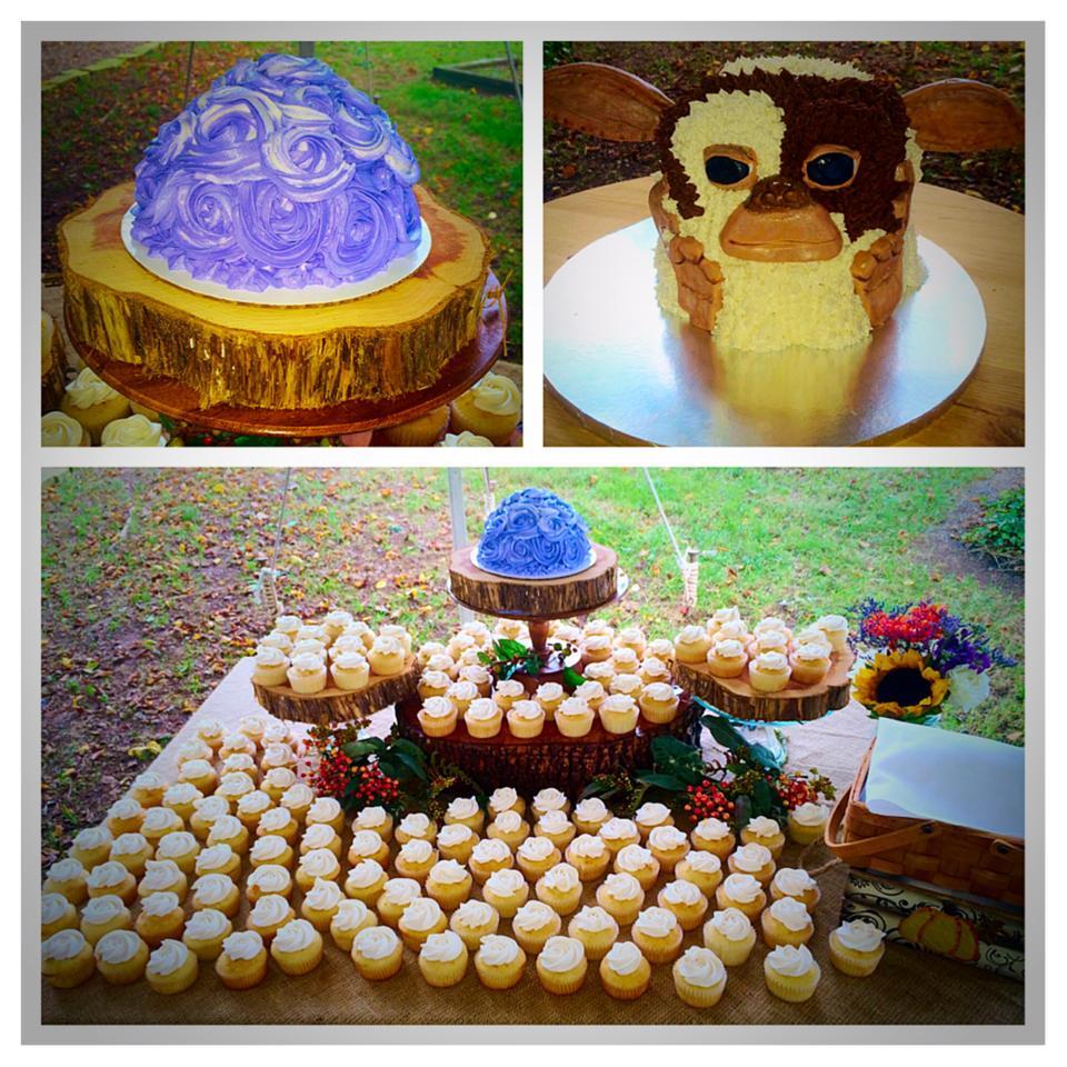 Cupcake Cutting Cake and Gizmo Groom's Cake Wedding Cakery
