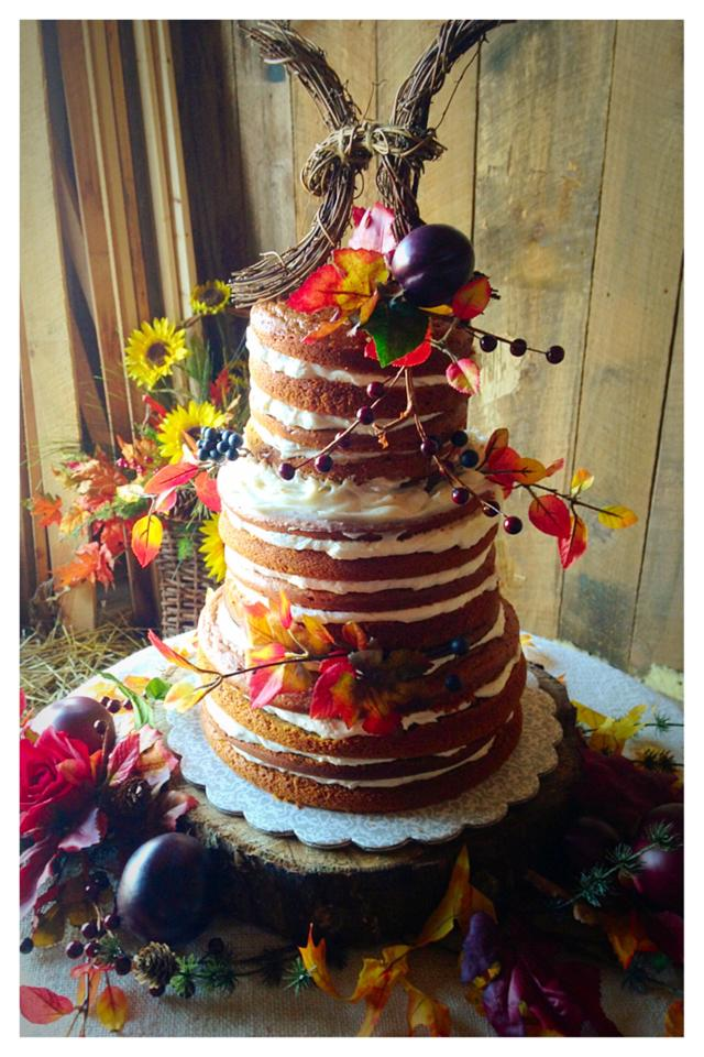 Fall Themed Naked Wedding Cake