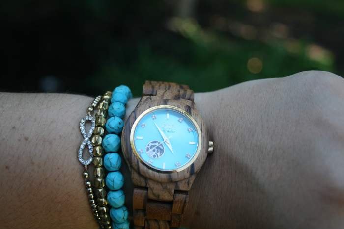 JORD Cora Zebrawood and Turquoise Watch