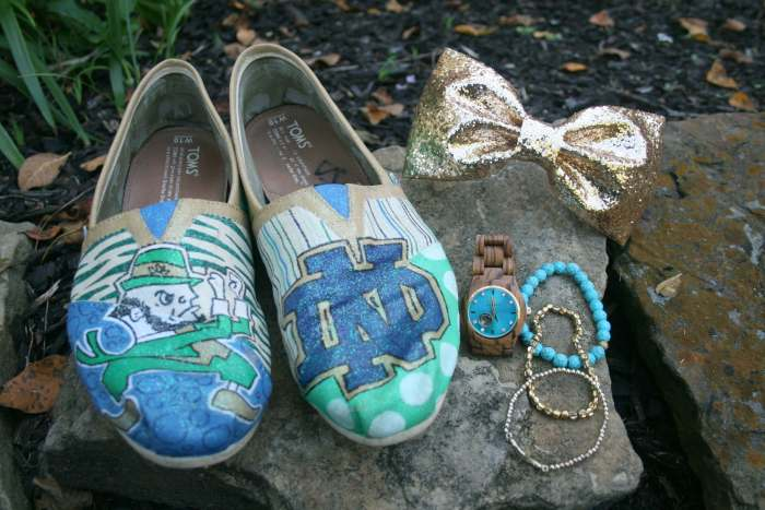 Toms painted for Notre Dame