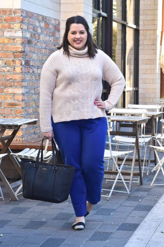 Winter Work Wear   Something Gold, Something Blue - Curvy Style Blog   What to wear to work in the cooler months - my recommendation: a turtlneck and colored slacks