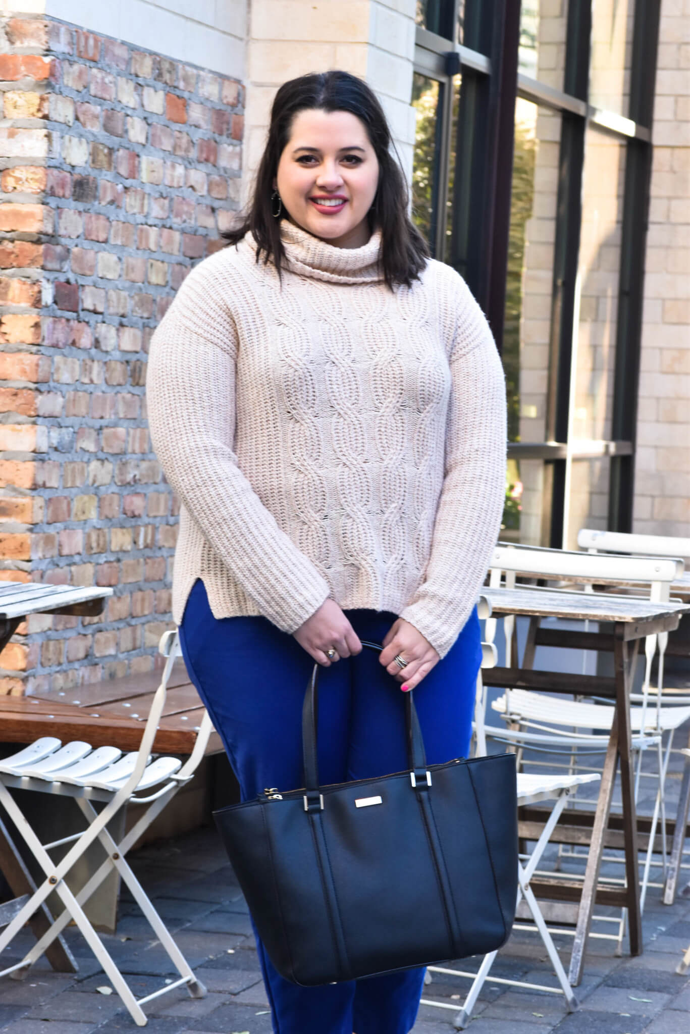 Winter Work Wear | Something Gold, Something Blue - Curvy Style Blog | What to wear to work in the cooler months - my recommendation: a turtlneck and colored slacks