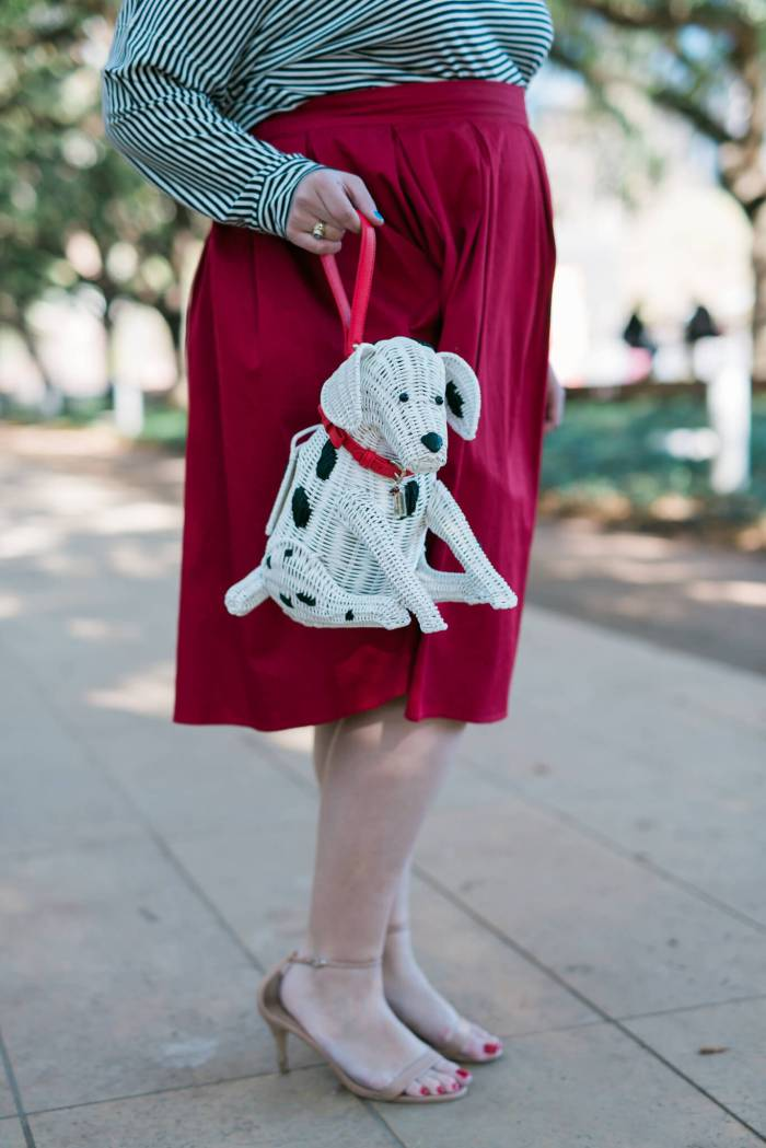 Puppy Love - Something Gold, Something Blue fashion blog - Kate Spade Puppy Purse dalmation wicker purse is the perfect accessory