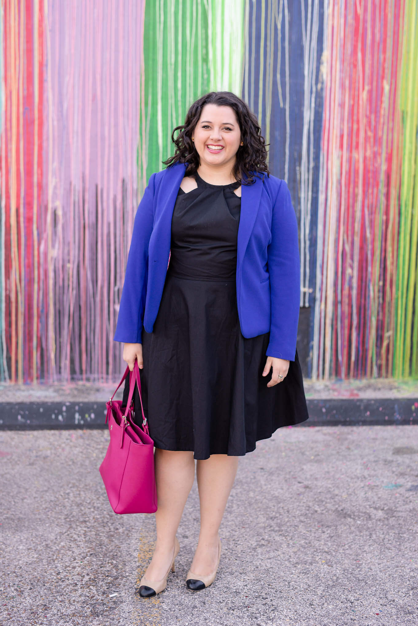 Business Casual with eShakti - Something Gold, Something Blue style blog - I'm sharing how I styled my black eShakti black cutout dress