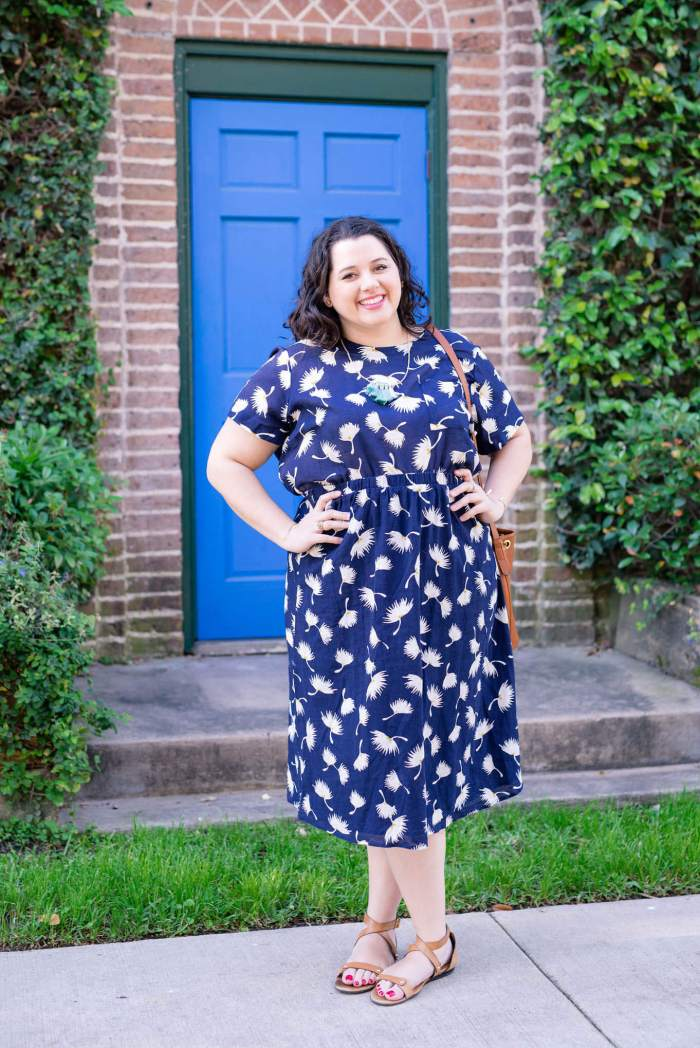 Matchy, Matchy - Something Gold, Something Blue curvy fashion blog - Linen navy floral top and matching skirt is perfect for the summer