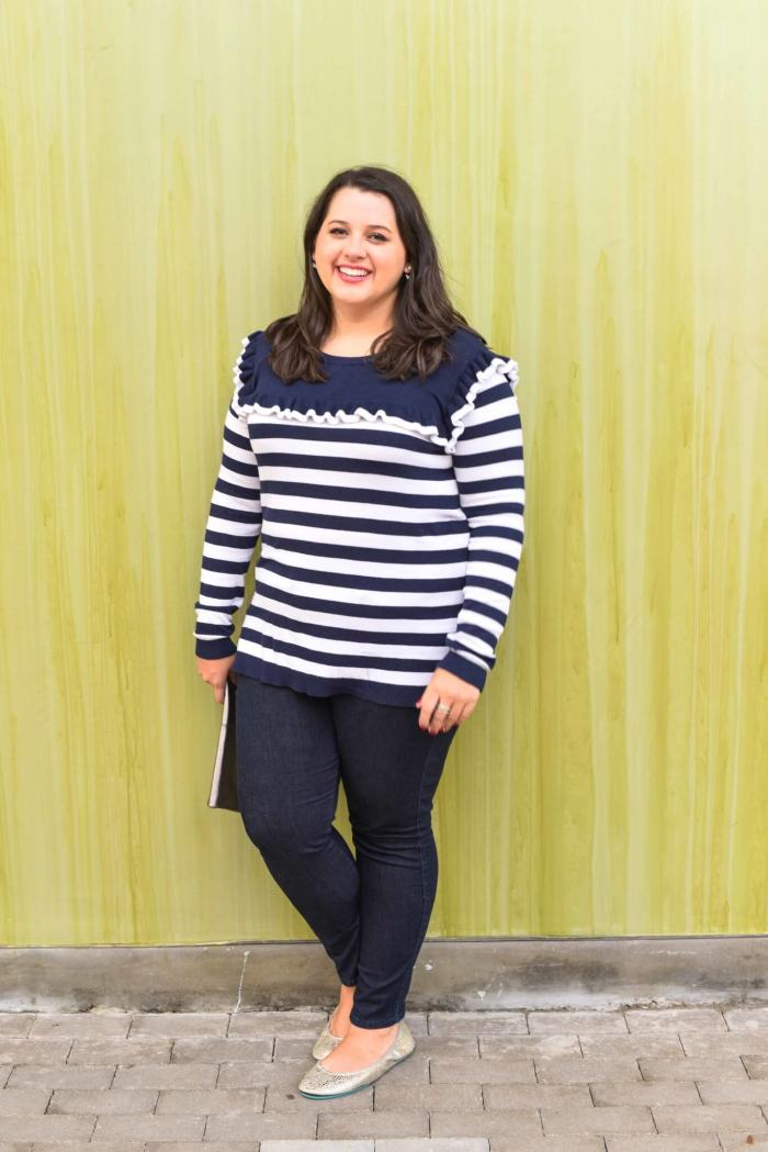 What to wear during the spring transition - It feels like Houston's winter weather is always like the ups and downs that Spring can bring. This lightweight striped sweater makes for the perfect item to complete your spring outfit.