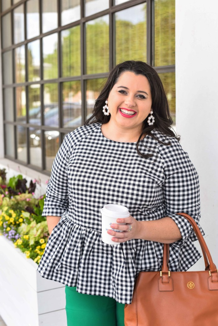 Traveling can be stressful, especially when your flight is delayed or even worse, cancelled. In today's blog post, I'm sharing a few travel delay tips that will help you make the best of the situation. I'm also talking about wearing a quintessential preppy item, a gingham peplum top. Emily Bastedo from the curvy style blog, Something Gold, Something Blue, is sharing how she is styling this gorgeous spring top perfect for both work and happy hour. Plus size, curvy, fashion, style, travel tips. - Work with popular Houston fashion blogger, Something Gold, Something Blue