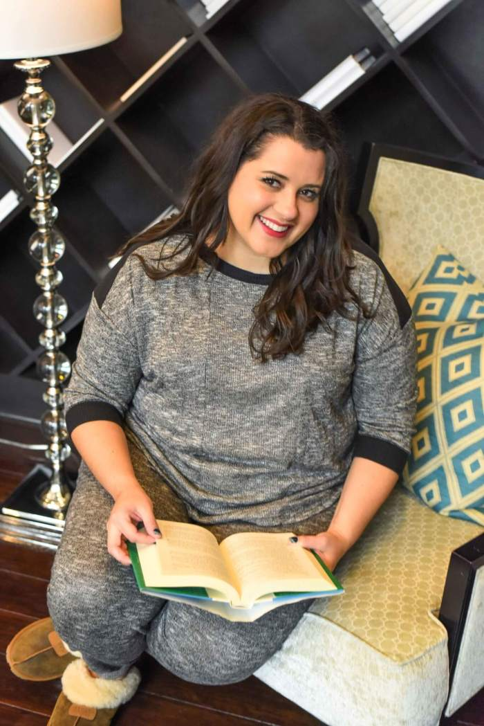 On the weekends, I love staying in my pajamas all morning relaxing or reading. This plus size pajama set from Kohl's allows me to look put together while still being extremely comfortable. #plussize #loungewear - Getting a Better Night's Sleep with Kohl's Plus Size Pajamas by popular Houston fashion blogger Something Gold, Something Blue