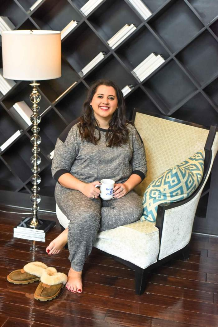 I'm starting to feel like my raggedy t-shirts and oversized pants don't meet my current lifestyle. As I get older, I find myself wanting coordinated sets that won't break my budget. These grey pajamas from Kohl's are the perfect start to my collection. #plussizesleepwear #holidaystyle - Getting a Better Night's Sleep with Kohl's Plus Size Pajamas by popular Houston fashion blogger Something Gold, Something Blue