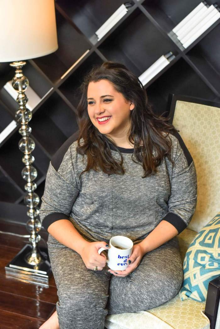 Looking for the perfect Thanksgiving Day pajama set? These grey plus size pajamas would be perfect for watching the Macy's Thanksgiving Day Parade. #thanksgivingstyle #thanksgiving #plussize - Getting a Better Night's Sleep with Kohl's Plus Size Pajamas by popular Houston fashion blogger Something Gold, Something Blue