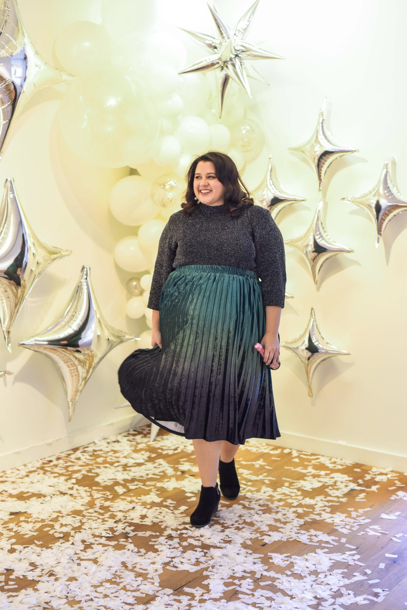 A fun plus size new year's eve for a casual party at a friend's house