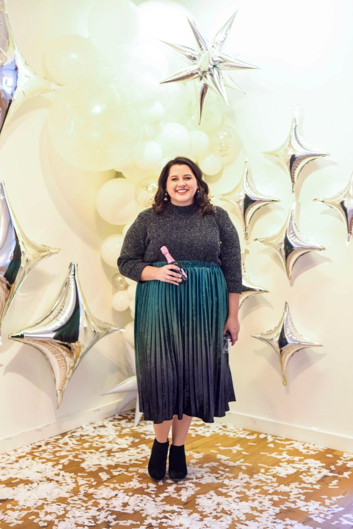 An ombre velvet skirt perfect for New Year's Eve 2019