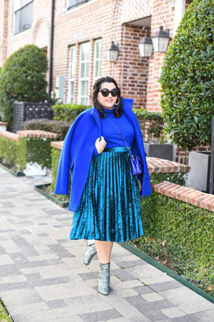 Wearing all blue and taking advantage of the monochromatic trend
