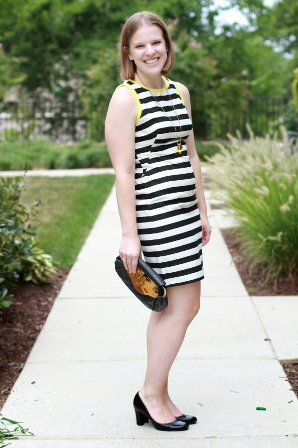 LB(Striped)D | Something Good, piperlime dress, nine west heels, half united necklace
