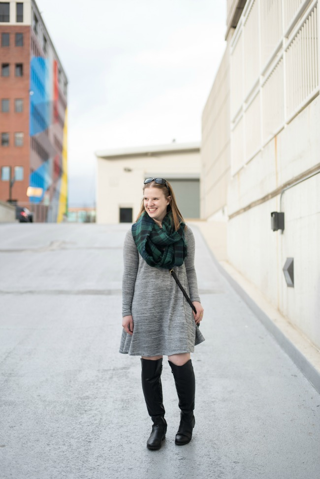 The Gray Swing Dress   Something Good, old navy dress, otk boots, black over the knee boots, shoes, blackwatch scarf, infinity plaid scarf, vera bradley twice as nice dress, women, clothing, clothes, fashion, style, winter style, fall fashion