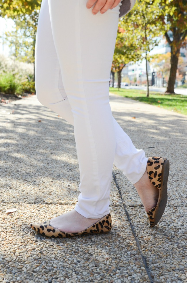 The White Jeans in the Winter | Something Good, leopard print flats