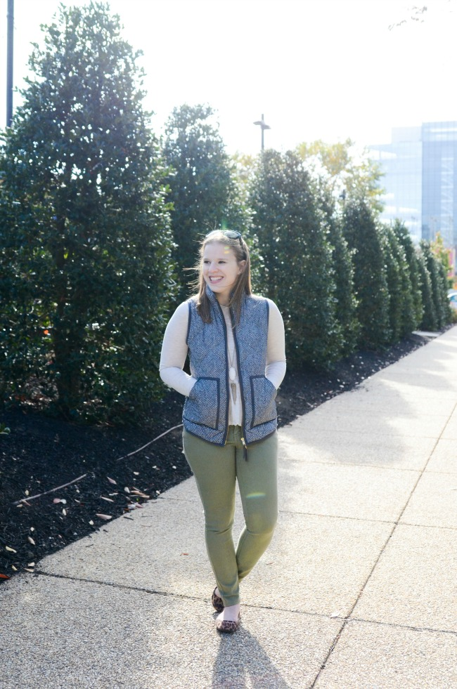 The J.Crew Factory Vest | Something Good, women, fashion, style, clothing, clothes, winter fashion, winter style, j.crew factory quilted puffer vest, old navy army green denim, old navy peplum, long sleeve peplum, leopard flats, target style, kendra scott necklace