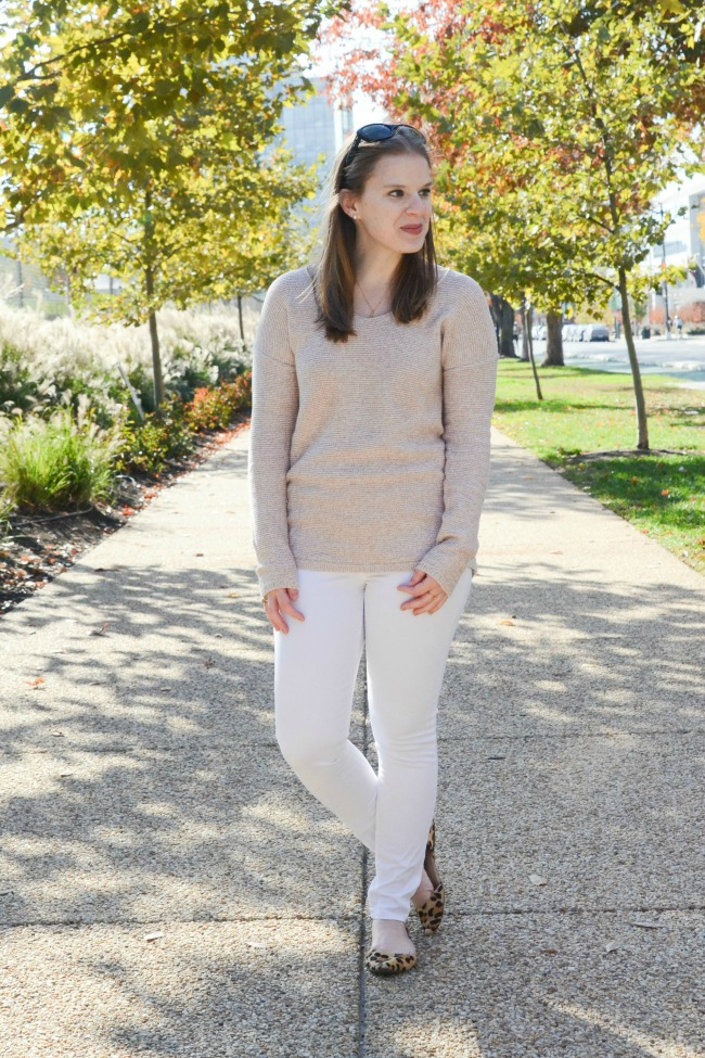 The White Jeans in the Winter | Something Good, old navy, white denim, leopard print,