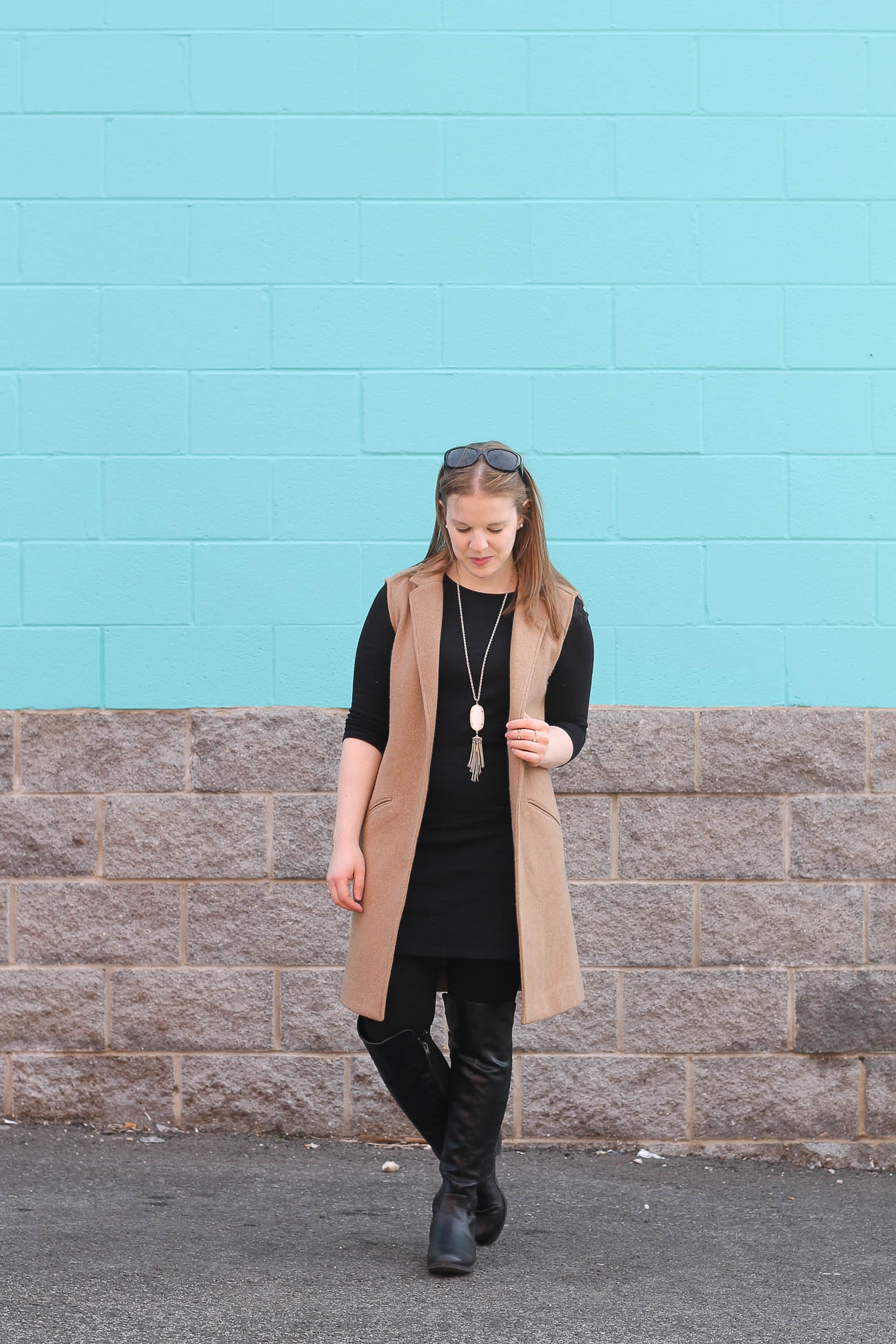 The Little Black Work Dress | Something Good, women, fashion, clothing, style, clothes, little black dress, camel sleeveless trench, gap vest, old navy dress, over the knee boots, black leather boots, kendra scott necklace, work outfit, fall outfit