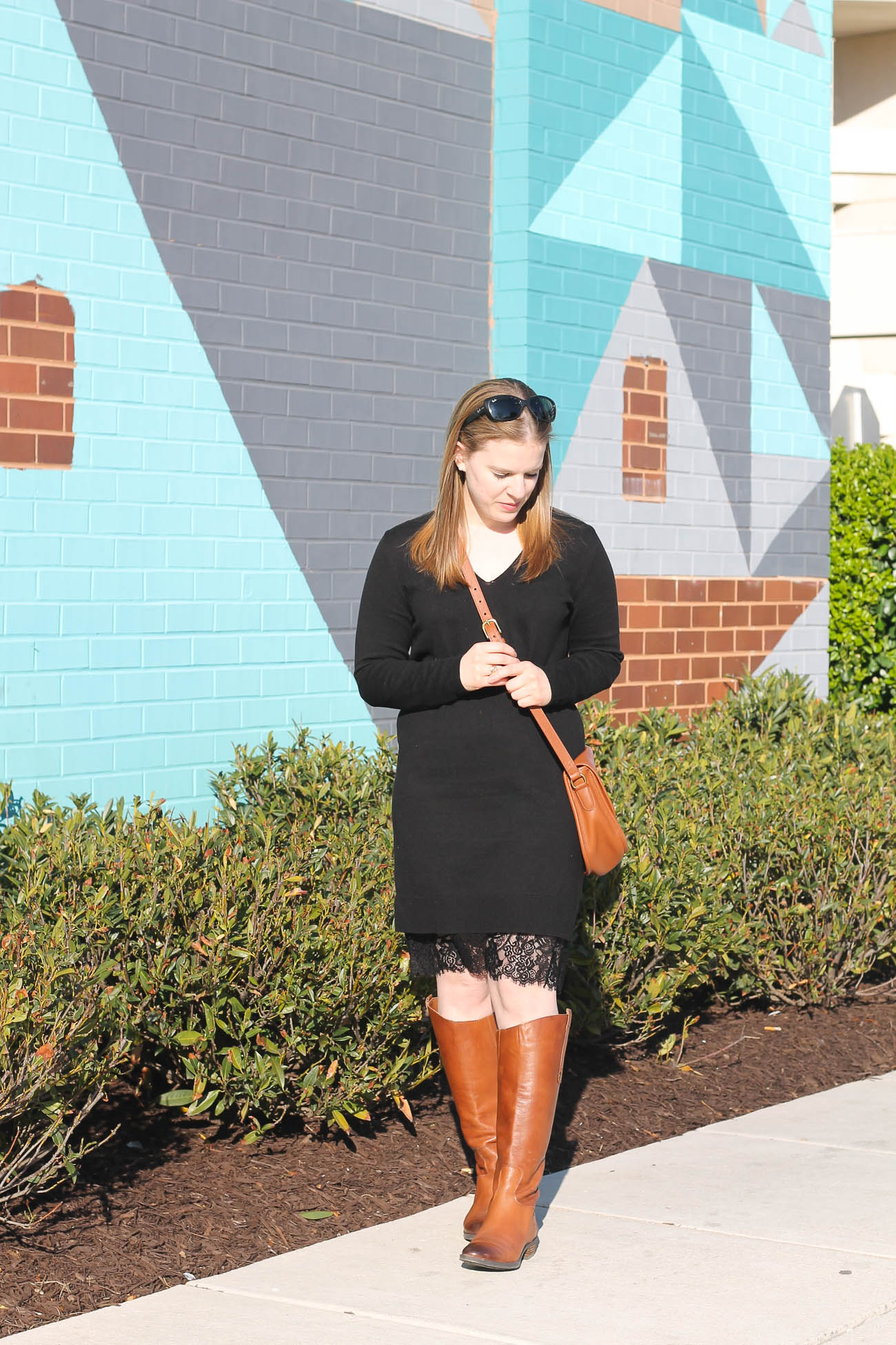 The Sweater Dress | Something Good, @danaerinw, joe fresh sweater dress, v neck black sweater dress, lace bottom dress, coach bag, crossbody bag, sam edelman penny riding boots, cognac riding boots, women, fashion, clothing, style, clothes, fall fashion, women's fashion