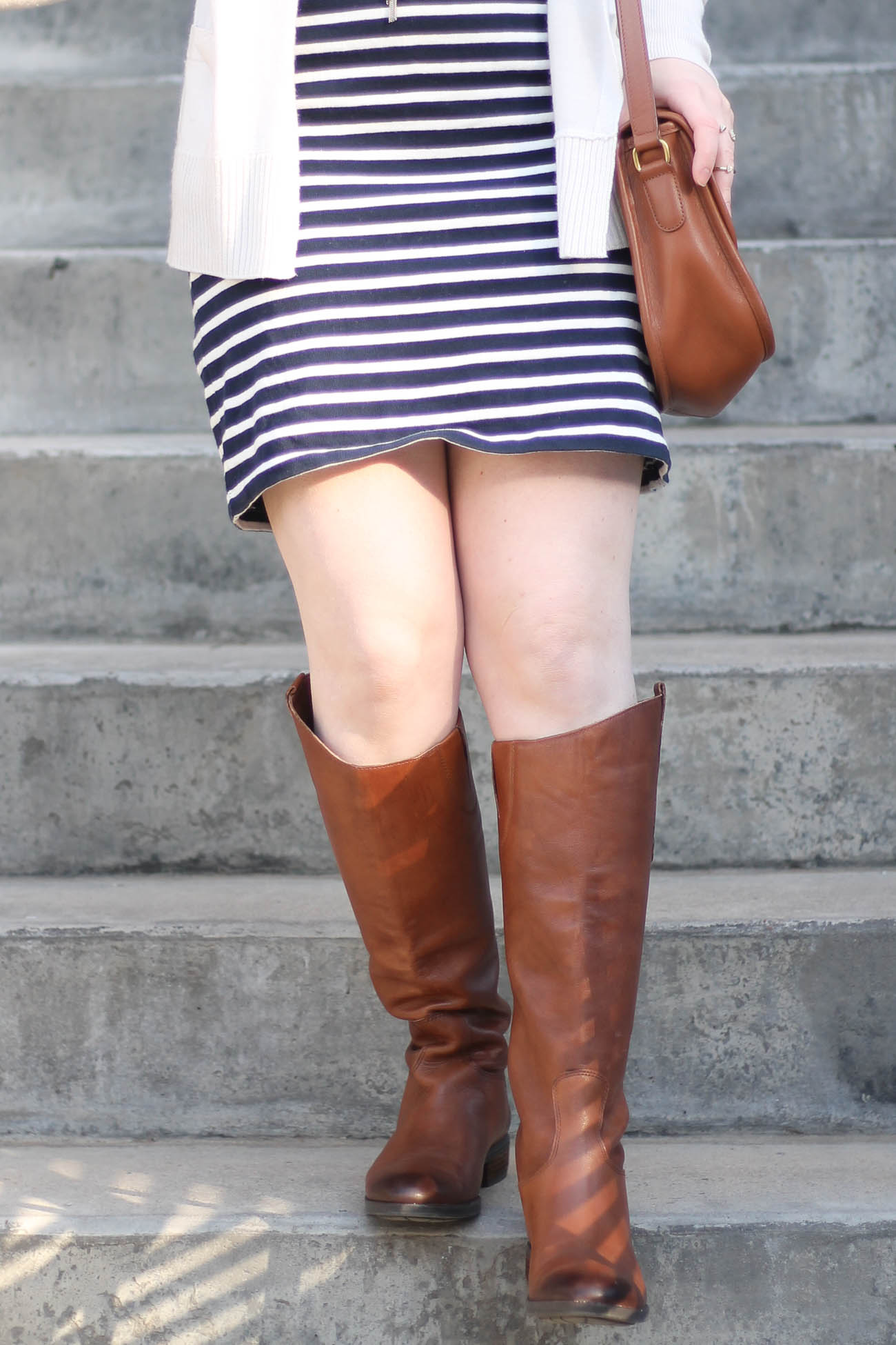 The Everlane Tee Dress | Something Good, shoes, riding boots, sam edelman riding boots, cognac riding boots