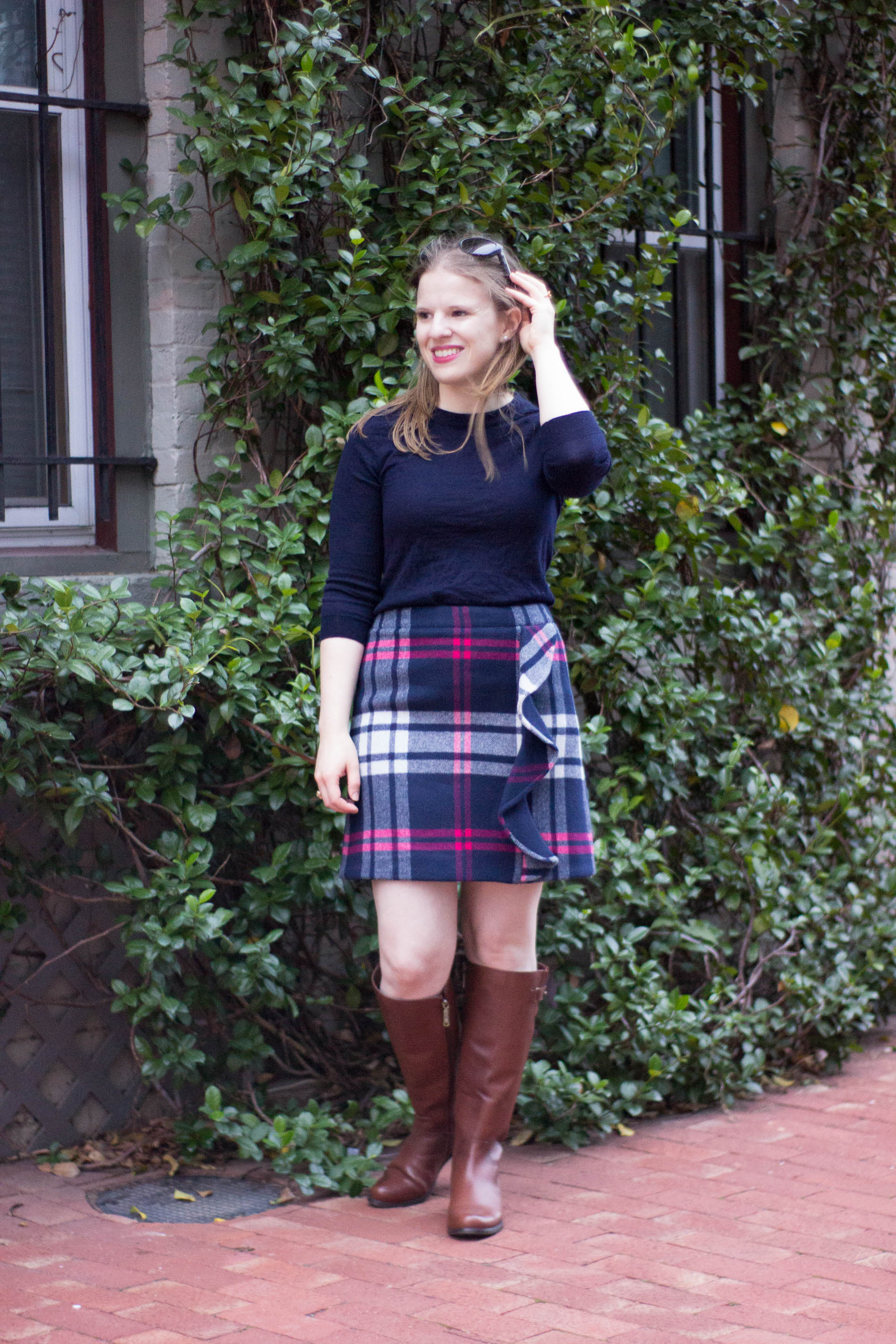 The 5 Days to Holiday Savings Challenge | Something Good, @danaerinw , j.crew factory sweater, j.crew factory crew neck, j.crew plaid ruffle skirt