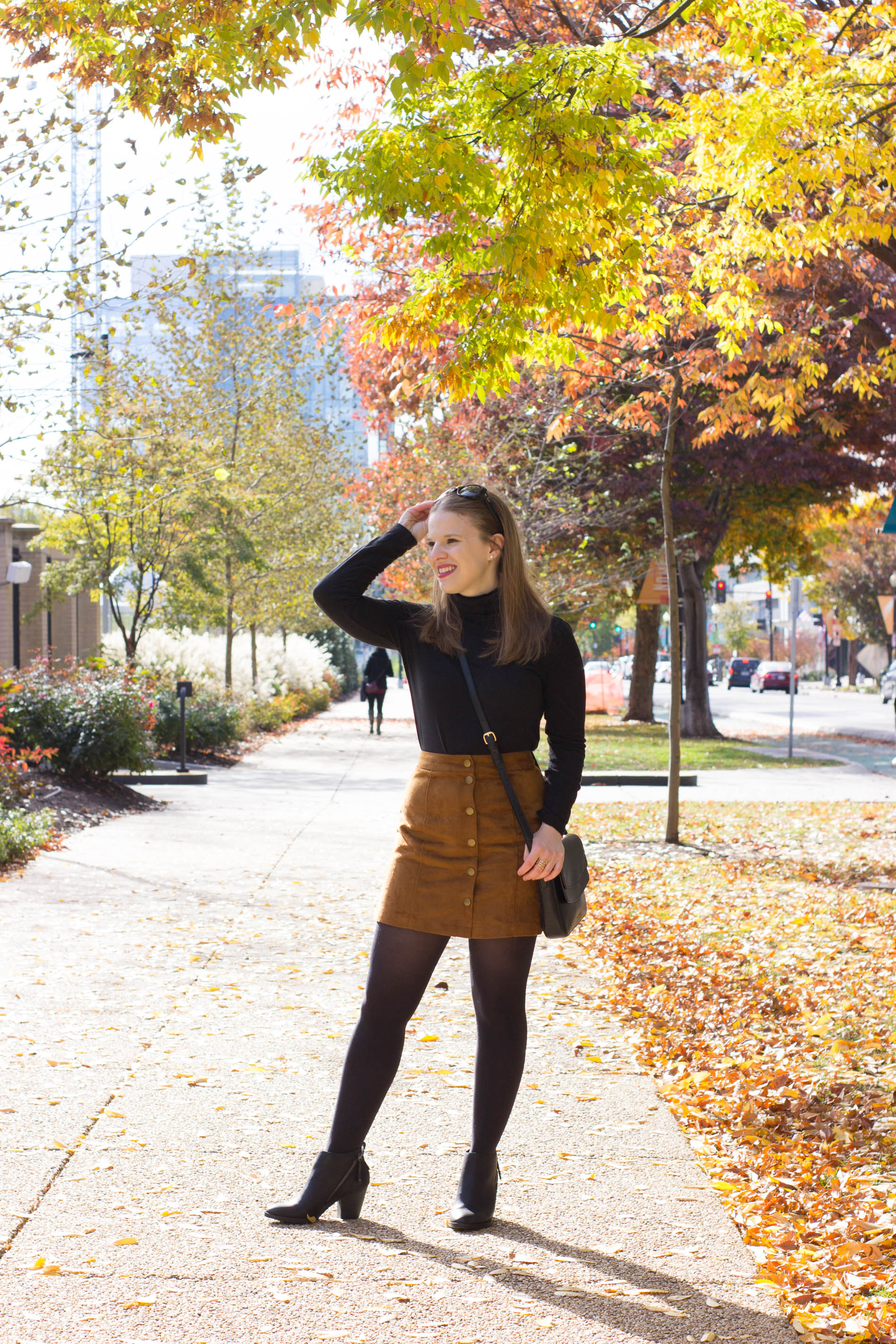 What Do You Wear to a Friendsgiving? | Something Good, @danaerinw , thanksgiving, outfits, holiday outfits, women's clothing, fashion, style, suede skirt, button front skirt, black turtleneck, turtleneck, j.crew, crossbody bag, black tights, black ankle boots, booties, fall outfits, thanksgiving outfits, holiday style
