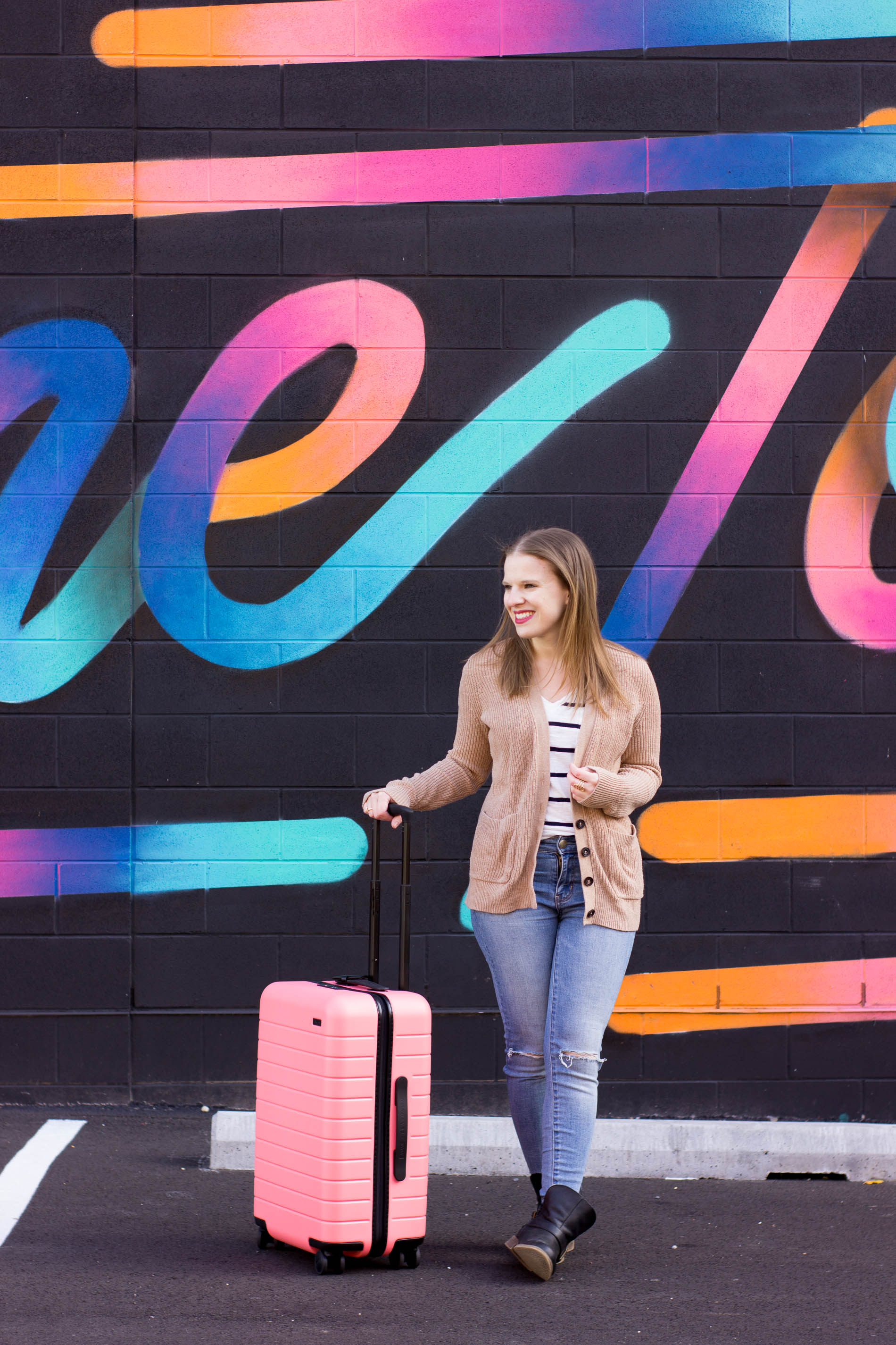 The Perfect Travel Outfit | Something Good, @danaerinw , women, fashion, clothing, style, women's fashion, jeggings, american eagle outfitters, jeans, denim, ripped jeans, boyfriend cardigan, striped shirt, coral suitcase