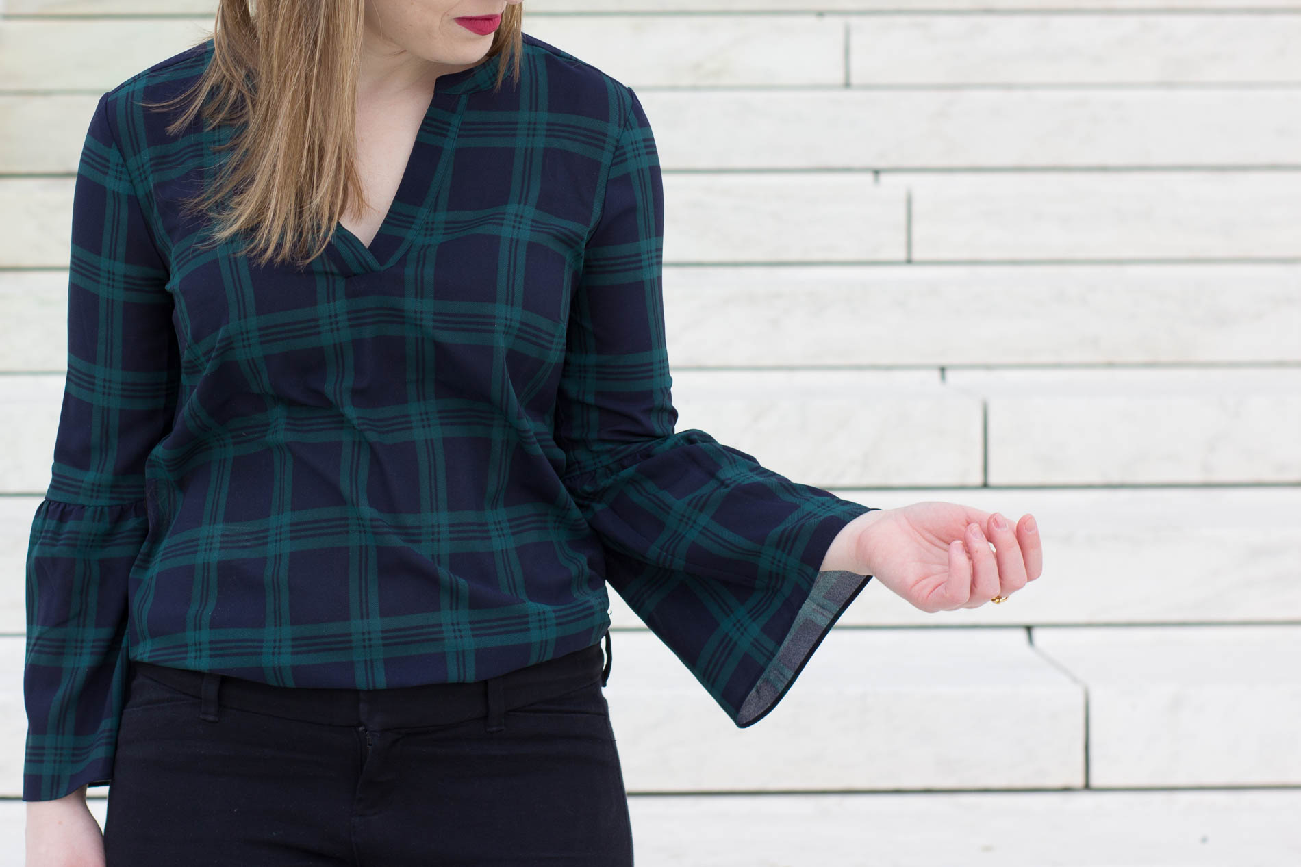 The Office Holiday Party   Something Good, @danaerinw, j.crew factory bell sleeve top, plaid top